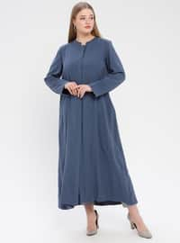 Indigo - Unlined - Crew neck - Plus Size Coat
