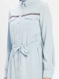 Blue - Point Collar - Unlined - Viscose - Dress