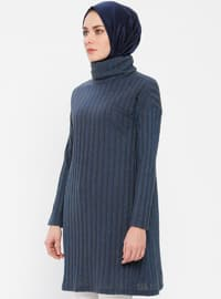Navy Blue - Polo neck - Cotton -  - Tunic