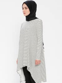 Ecru - Stripe - Crew neck - Tunic