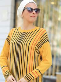 Mustard - Stripe - Crew neck -  - Tunic