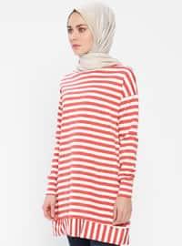 Red - White - Stripe - Crew neck - Tunic
