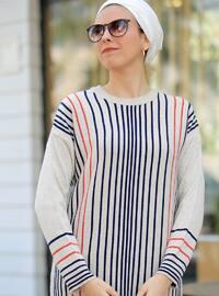 Ecru - Beige - Stripe - Crew neck -  - Tunic