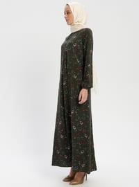 Khaki - Multi - Crew neck - Unlined - Viscose - Dress - ZENANE