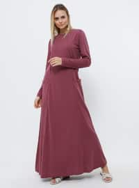 Plum - Crew neck - Unlined - Cotton - Dress