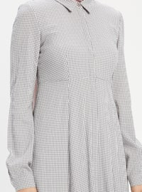 Gray - Checkered - Point Collar - Fully Lined - Dress