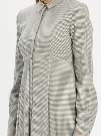 Khaki - Checkered - Point Collar - Fully Lined - Dress