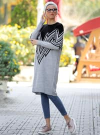 Black - Multi - Crew neck - Acrylic - Tunic