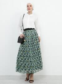 Green - Multi - Fully Lined - Skirt
