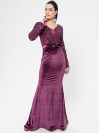 Purple - Bowtie - Unlined - V neck Collar - Muslim Evening Dress