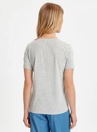 Gray - V neck Collar - T-Shirt