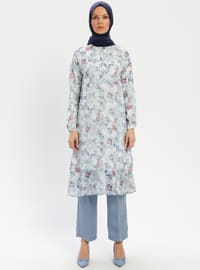 Blue - Floral - Point Collar - Tunic