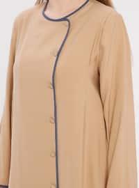 Camel - Unlined - Crew neck - Plus Size Coat