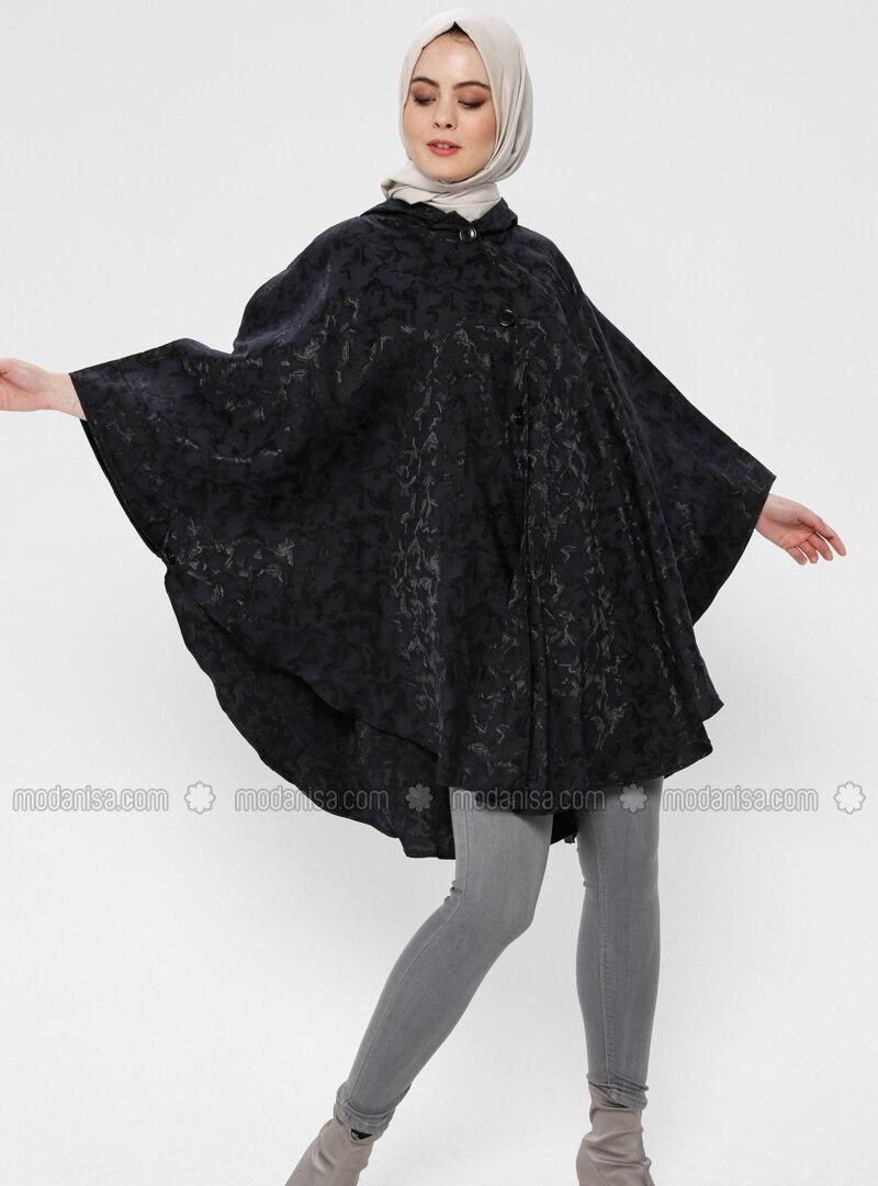 Black - Unlined - Viscose - Poncho