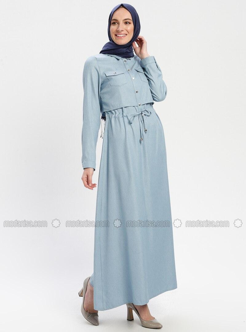 1148e6496c7 Belden Bağlamalı Elbise - Bebe Mavisi