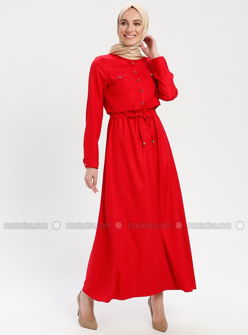 7edacefab07 Belden Bağlamalı Elbise - Kırmızı
