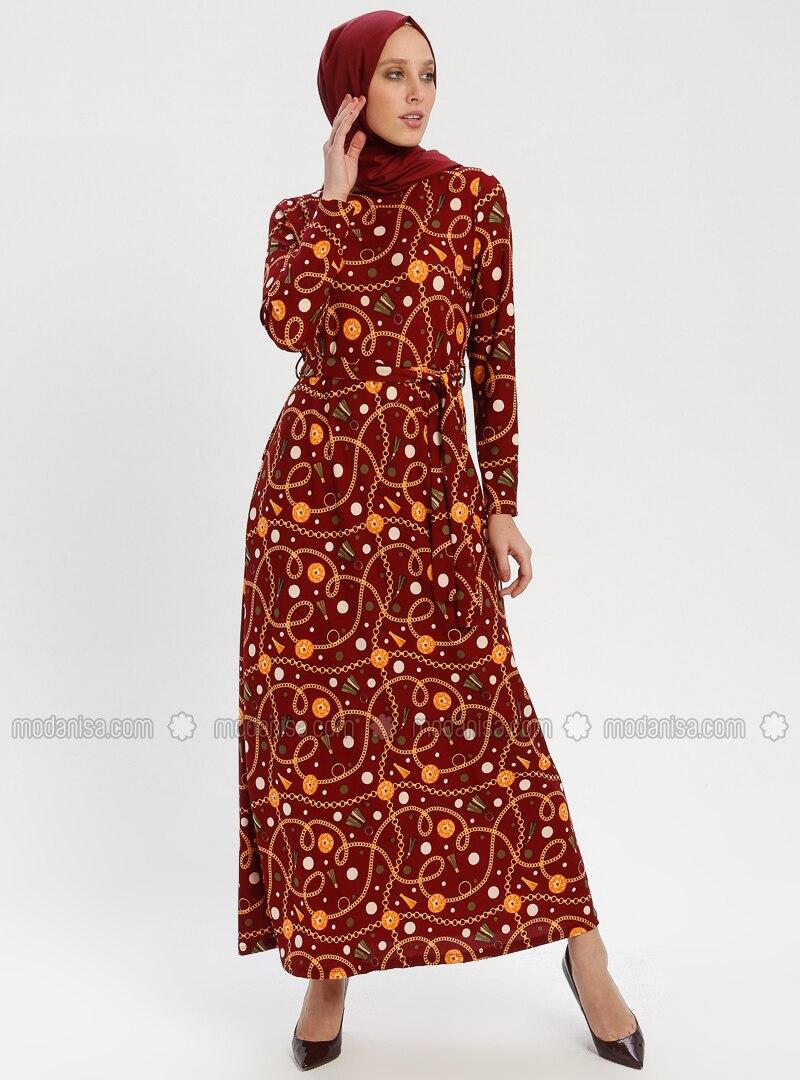 f3cbd28509abb Desenli Elbise - Bordo