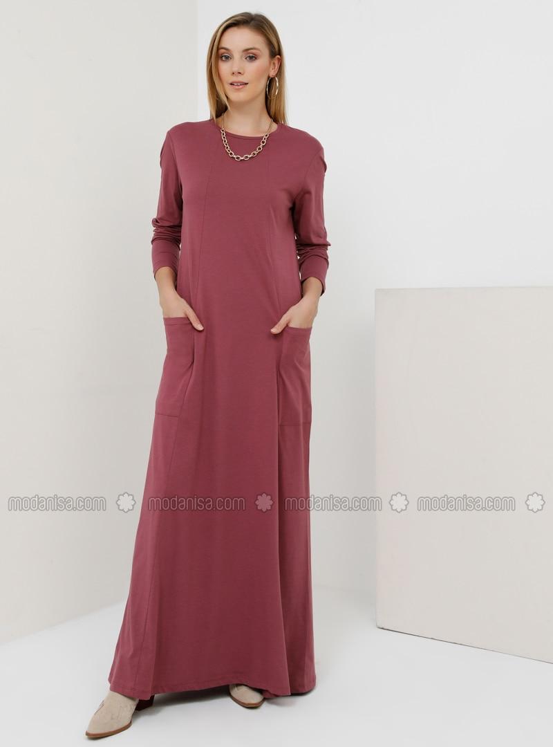 Plum - Crew neck - Unlined - Cotton - Dress