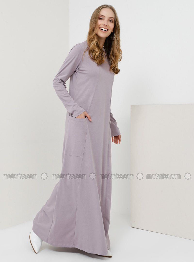 Lilac - Crew neck - Unlined - Cotton - Dress