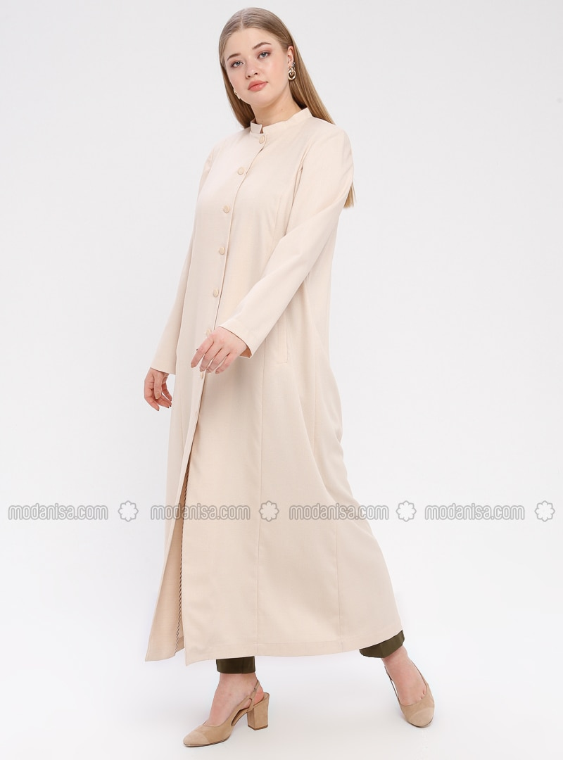 Powder - Unlined - Crew neck - Plus Size Coat