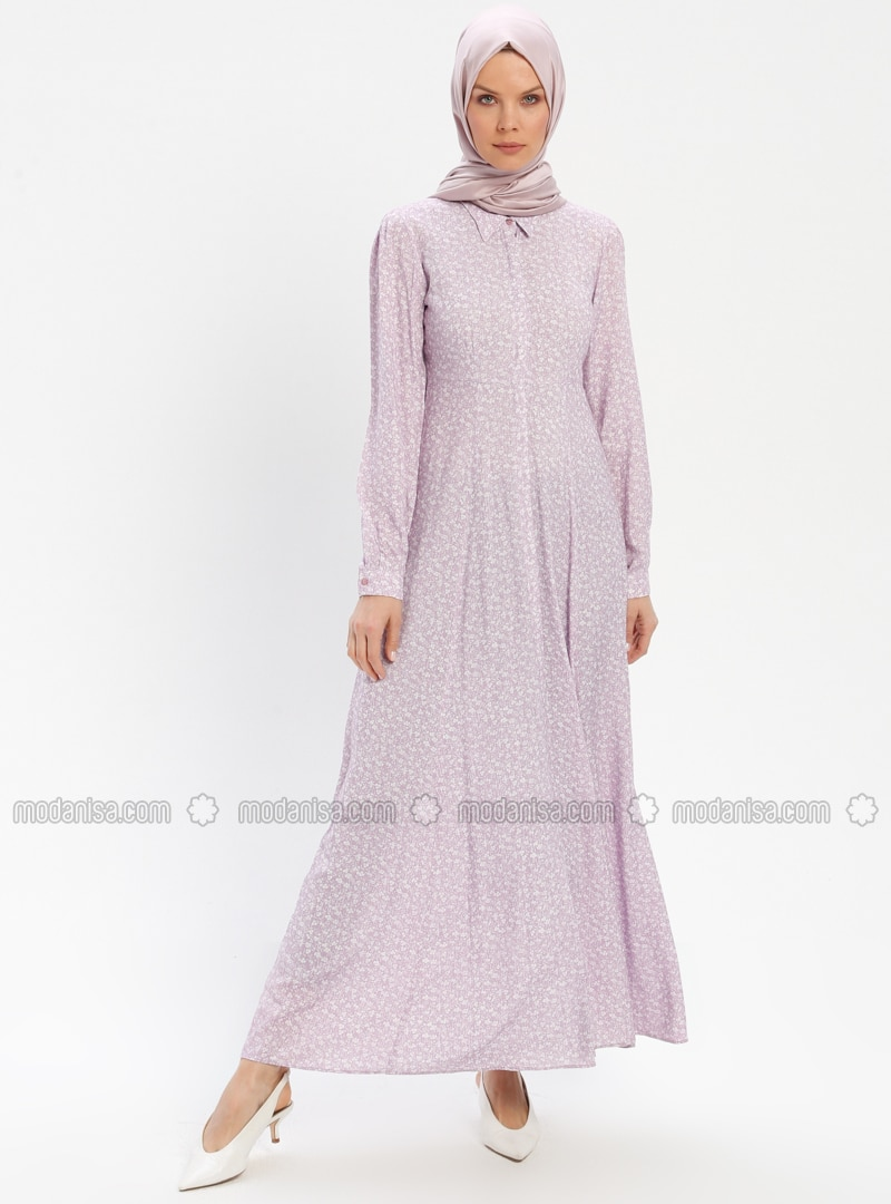 Lilac - Floral - Point Collar - Unlined - Viscose - Dress