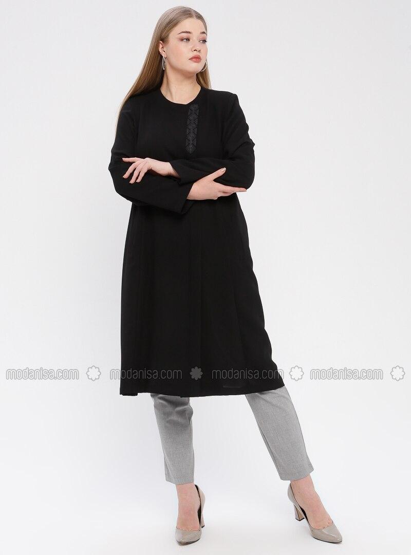 Black - Unlined - Crew neck - Plus Size Coat