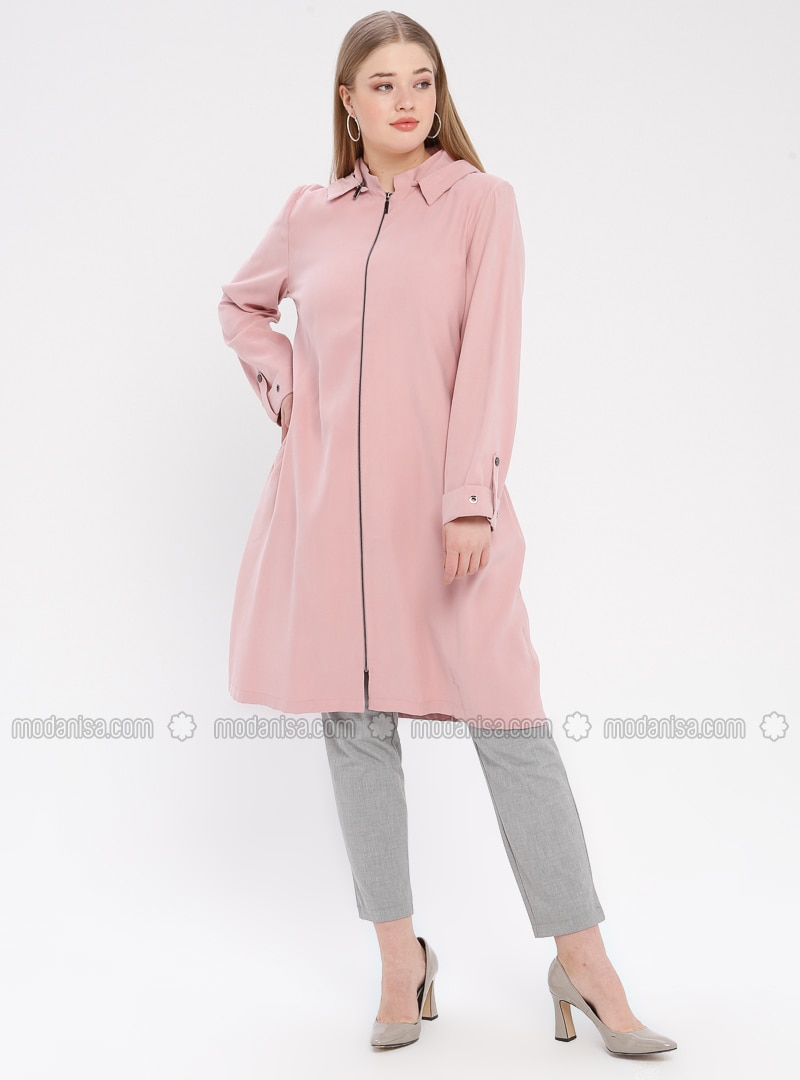 Powder - Unlined - Crew neck - Cotton - Plus Size Coat