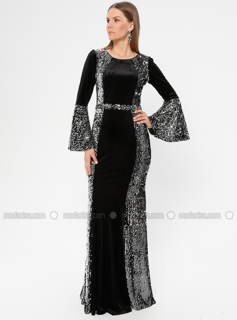 0fdc1dd4d Noir - Argenté - Tissu doublé - Robe de soirée