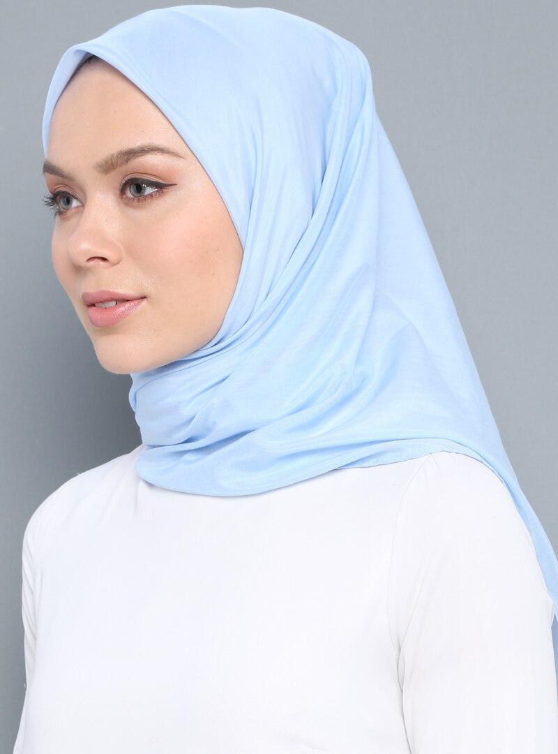 Tesettür %100 İpek Şal Aker Bebe Mavisi Kadın Standart