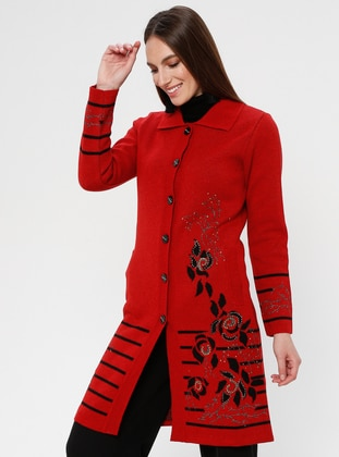 Red - Floral - Stripe - Unlined - Point Collar -  - Jacket