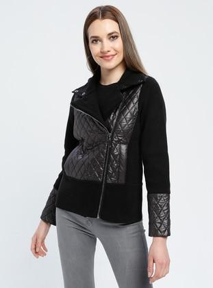 Black - Unlined - Polo neck -  - Jacket