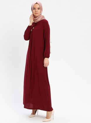 Maroon - Crew neck - Unlined - Viscose - Dress - BAGİZA