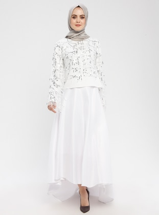 Half Lined - White - Ecru - Evening Skirt - Filizzade