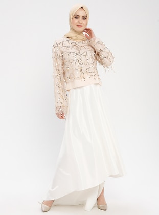 Half Lined - Cream - Evening Skirt - Filizzade