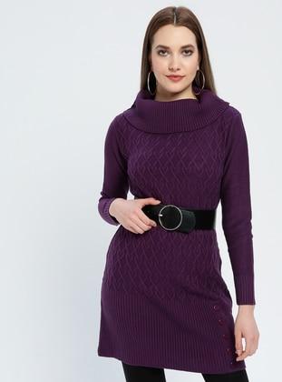 Purple - Polo neck - Acrylic -  - Tunic