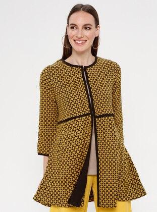 Mustard - Geometric - Unlined - Crew neck -  - Jacket
