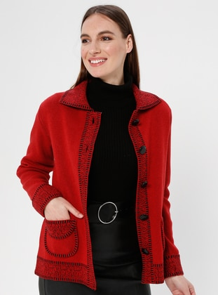 Red - Unlined - Point Collar -  - Jacket