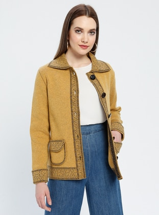 Yellow - Brown - Unlined - Point Collar -  - Jacket