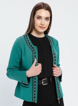 Green - Black - Unlined - Crew neck -  - Jacket