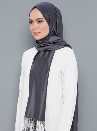 Smoke - Plain - %100 Silk - Shawl