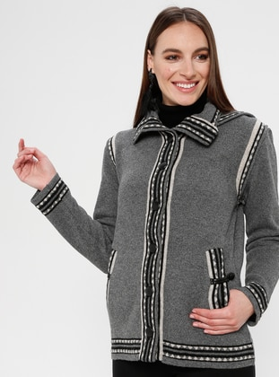 Gray - Ethnic - Unlined - Point Collar - Jacket