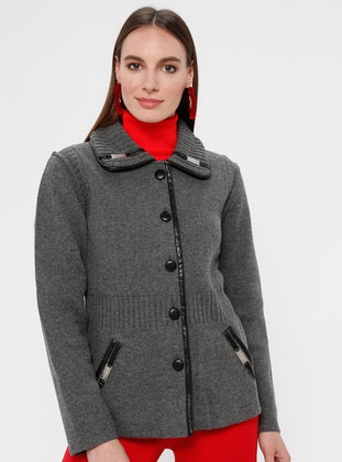 Gray - Unlined - Point Collar -  - Jacket