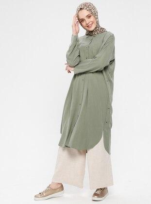 Khaki - Unlined - Point Collar - Cotton - Topcoat