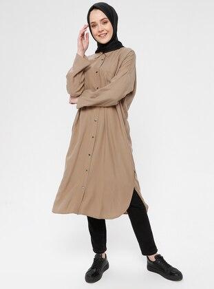 Beige - Unlined - Point Collar - Cotton - Topcoat
