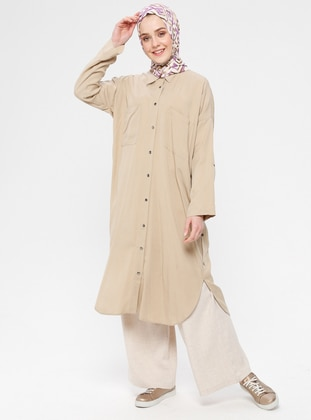 Beige - Unlined - Point Collar - Cotton - Topcoat