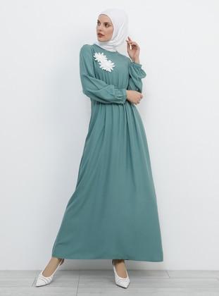Green - Crew neck - Unlined - Viscose - Dress