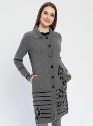 Gray - Floral - Stripe - Unlined - Point Collar -  - Jacket