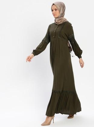 Khaki - Unlined - Crew neck - Viscose - Plus Size Dress - BAGİZA