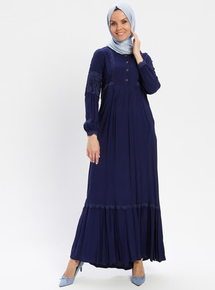 Navy Blue - Unlined - Crew neck - Viscose - Plus Size Dress - BAGİZA
