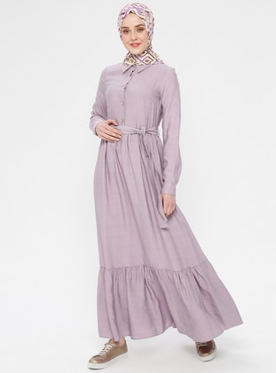 Lilac - Point Collar - Unlined - Dress